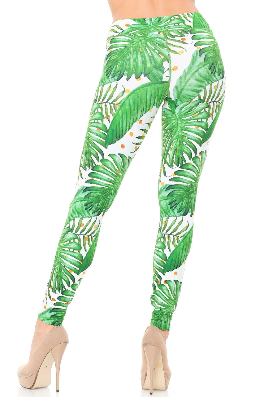 Rear view image of our figure flattering body forming Double Brushed Tropical Green Palm Leaf Leggings - 3 Inch Waistband.