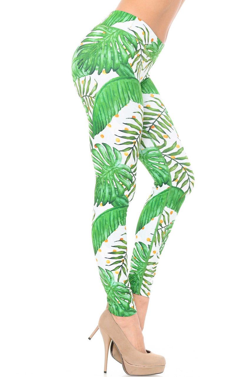 Right side view of our smooth and soft Double Brushed Tropical Green Palm Leaf Leggings - 3 Inch Waistband.