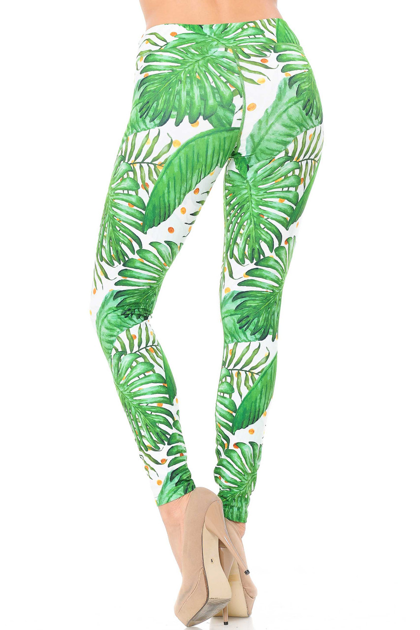 Our Tropical Green Palm Leaf Leggings feature a comfort fabric 3 inch waistband.