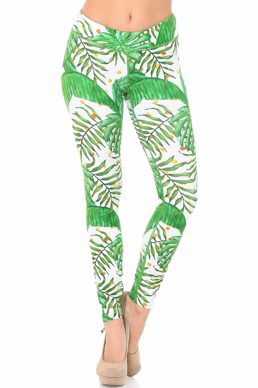 Front view of Double Brushed Tropical Green Palm Leaf Leggings - 3 Inch Waistband.