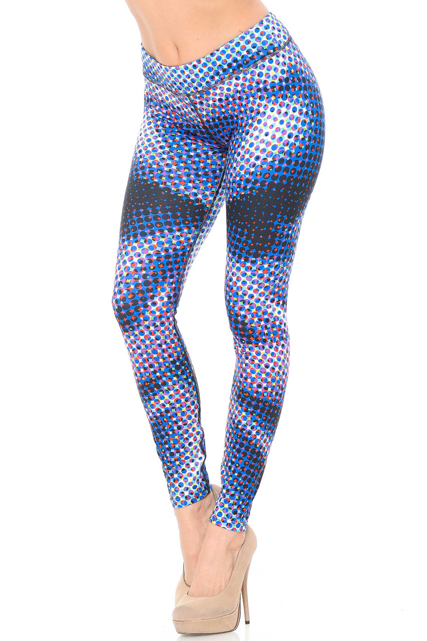Our Double Brushed Polka Dot Hologram Leggings - 3 Inch Waistband feature a pop art style polka dot comic look.