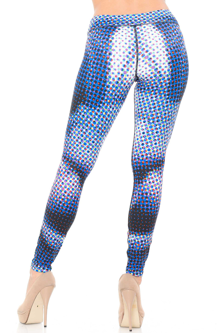 Multi colored layers of small circles  give our Double Brushed Polka Dot Hologram Leggings - 3 Inch Waistband a unique retro look.