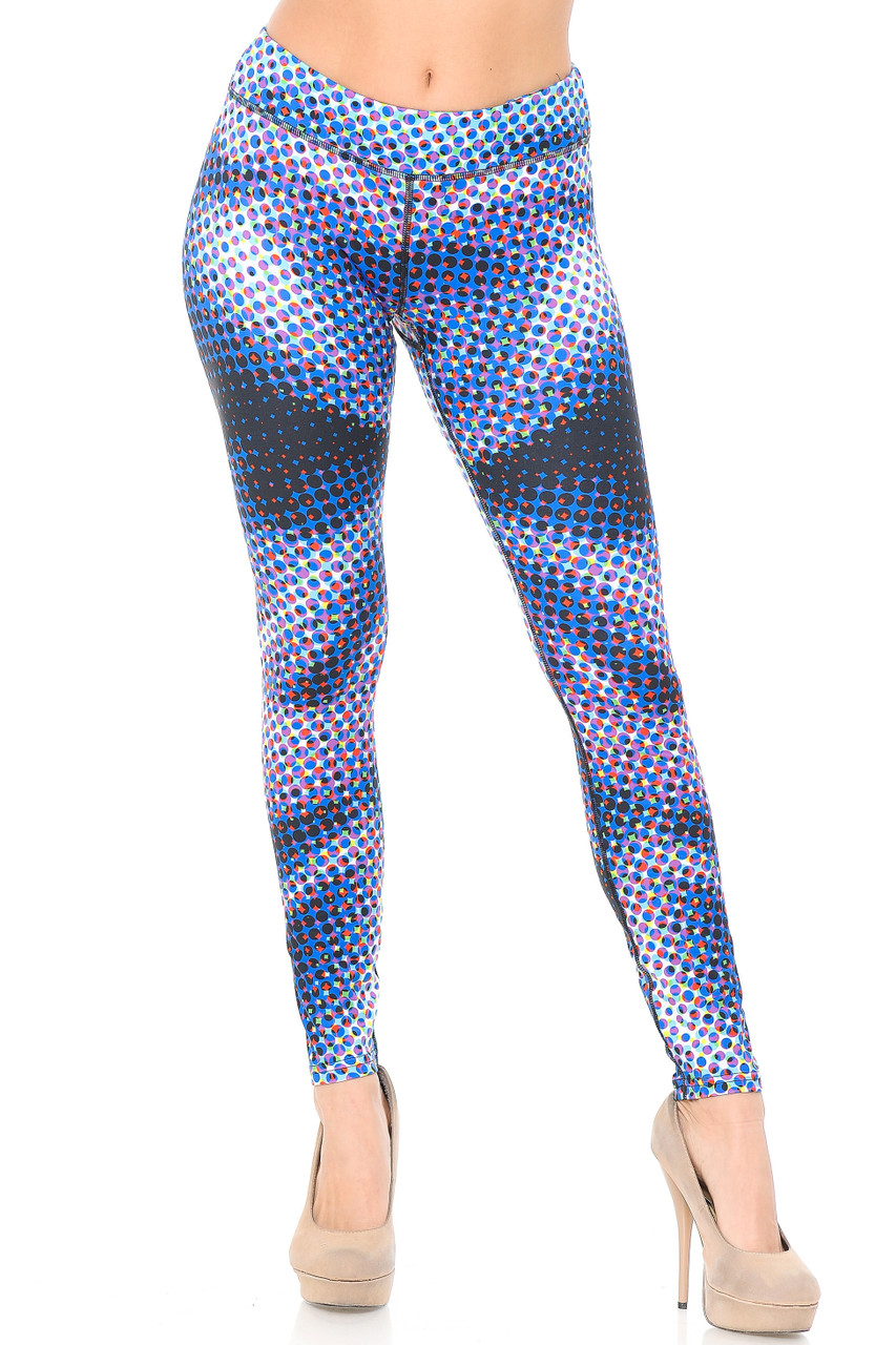 Full length Double Brushed Polka Dot Hologram Leggings with a comfort fabric 3 Inch Waistband.