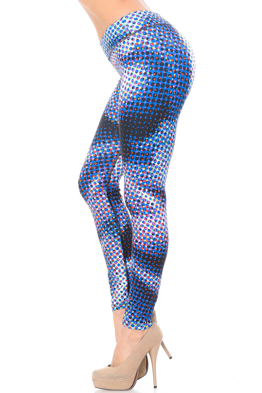 Double Brushed Polka Dot Hologram Leggings - 3 Inch Waistband feature a soft and smooth feel.