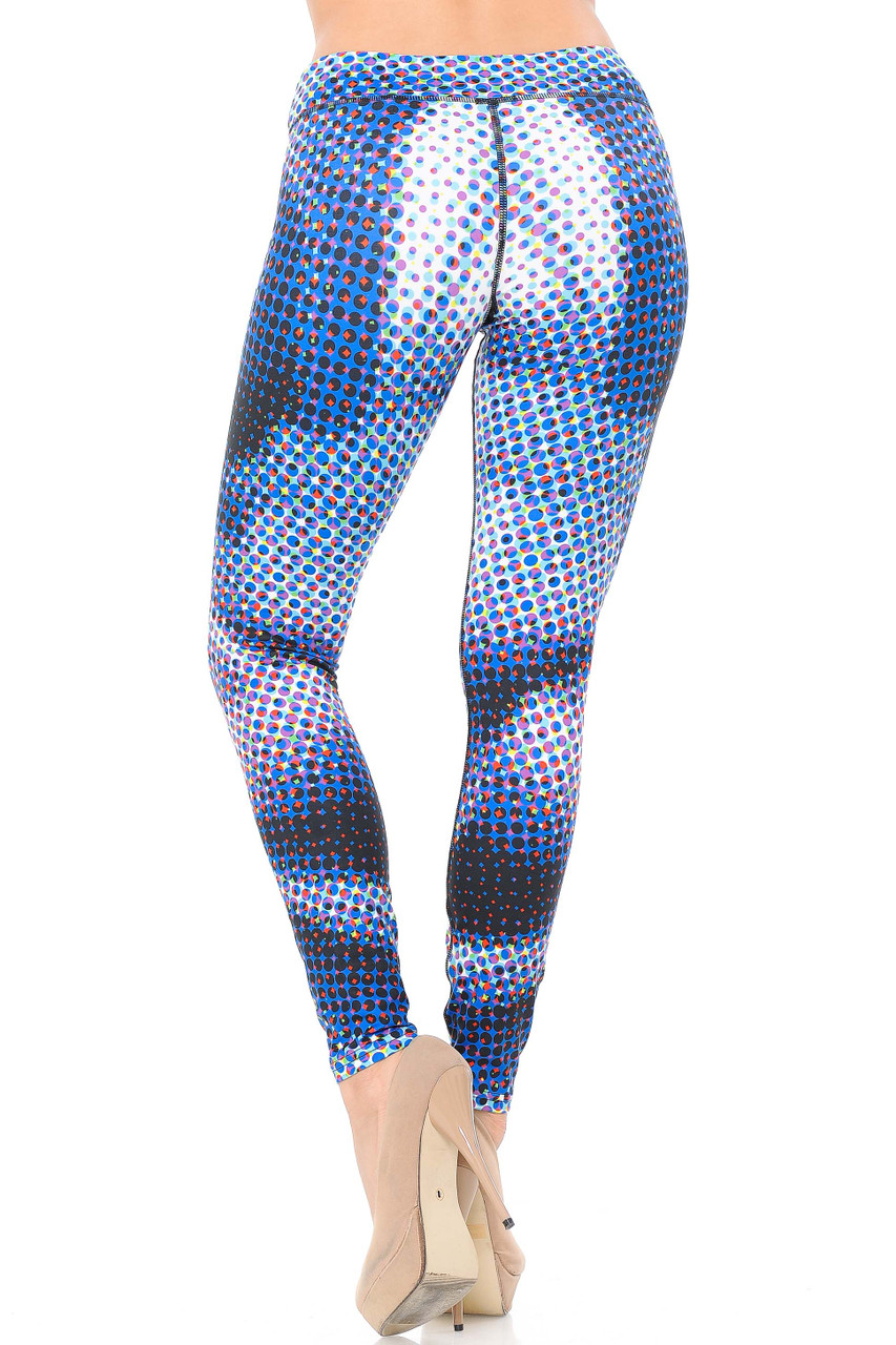 Double Brushed Polka Dot Hologram Leggings - 3 Inch Waistband have a flattering body hugging fit.