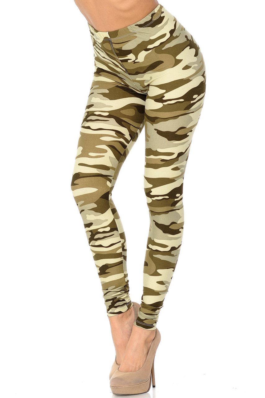 Buttery Soft Light Olive Camouflage Leggings with a dusty green hued army print.