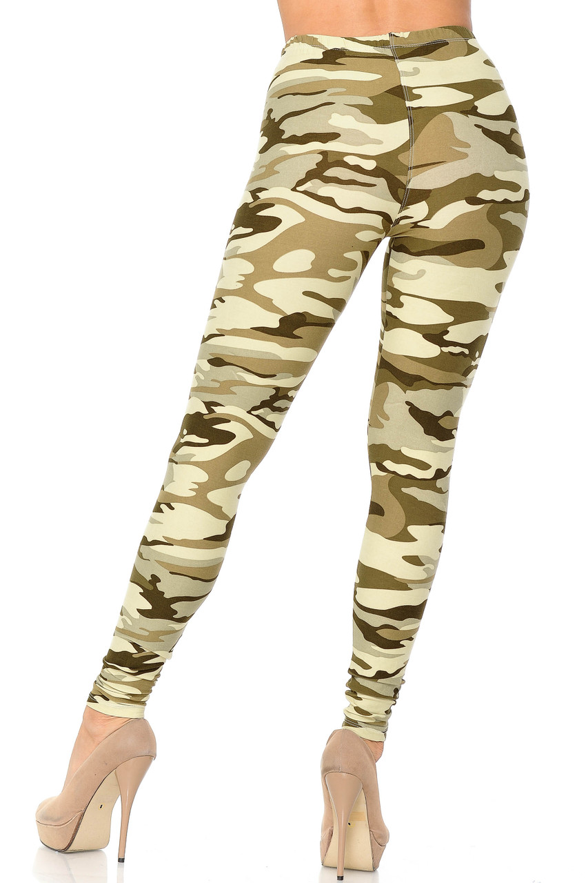 Rear view of our full length Buttery Soft Light Olive Camouflage Leggings