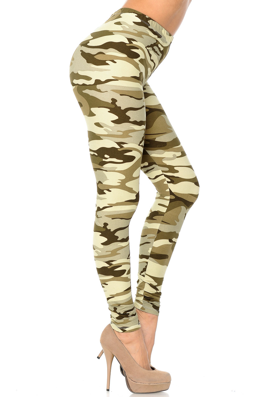 Right side view of Buttery Soft Light Olive Camouflage Leggings.