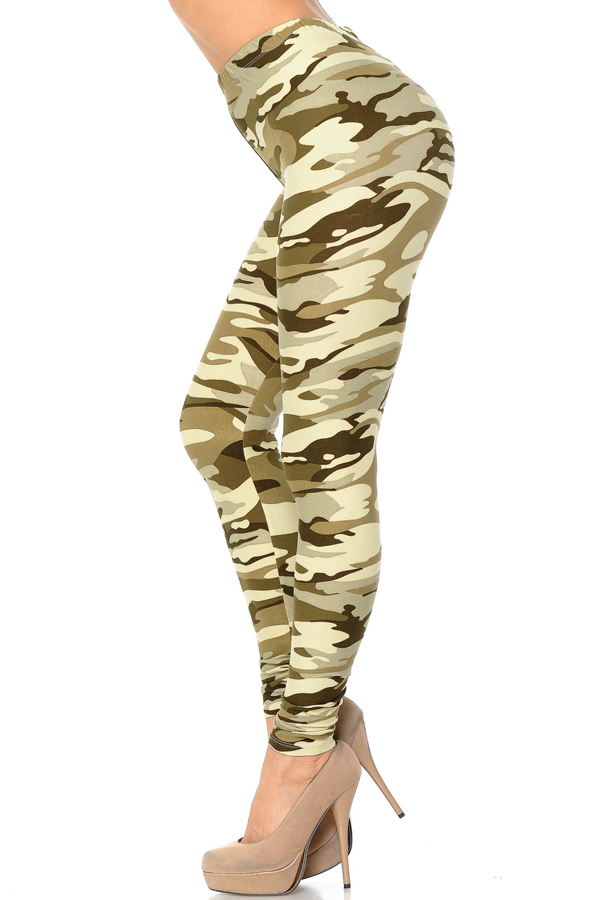 Left side view of Buttery Soft Light Olive Camouflage Leggings.