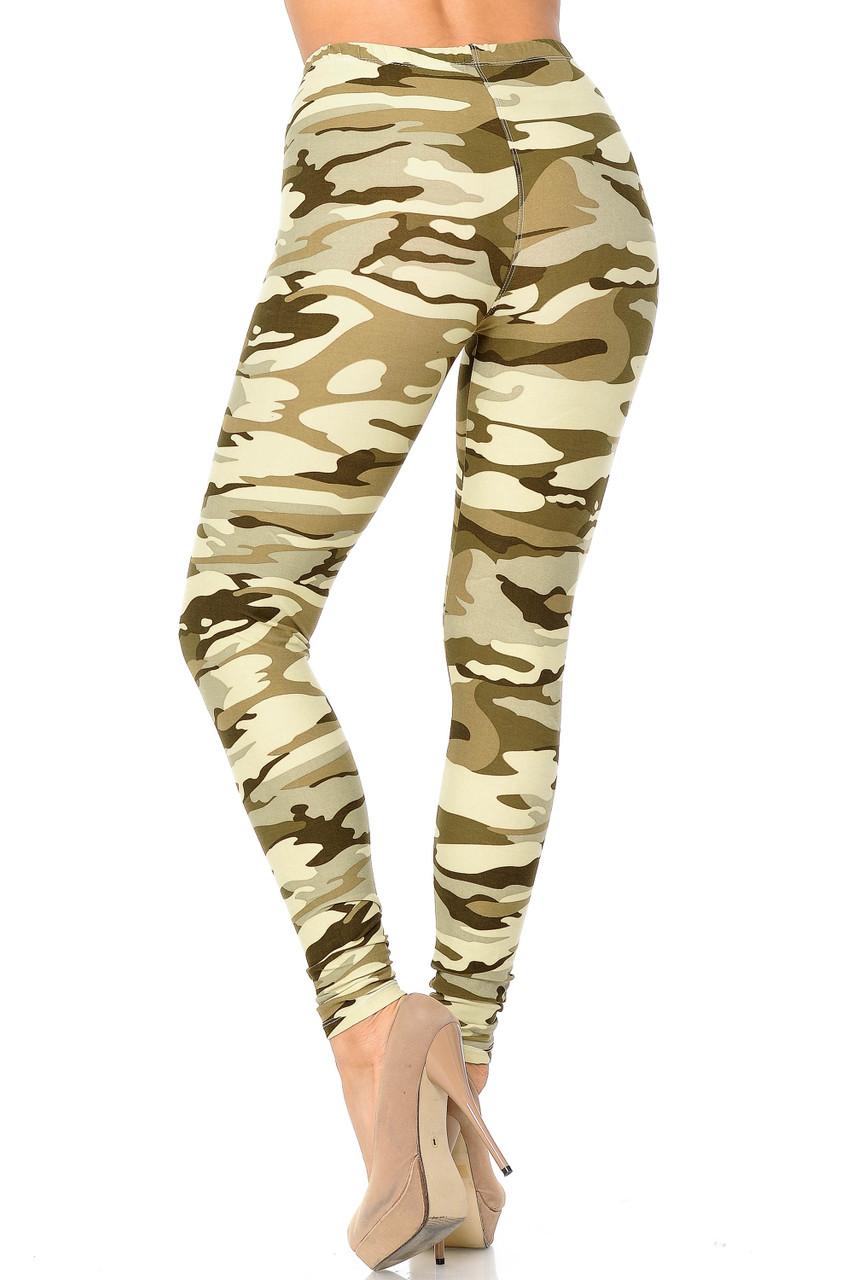 Full length Buttery Soft Light Olive Camouflage Leggings.