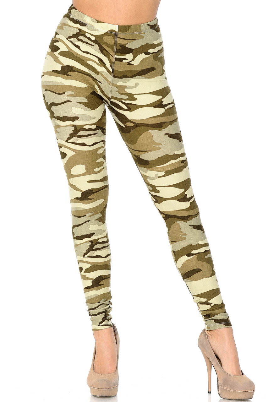 Front facing view of Buttery Soft Light Olive Camouflage Leggings.