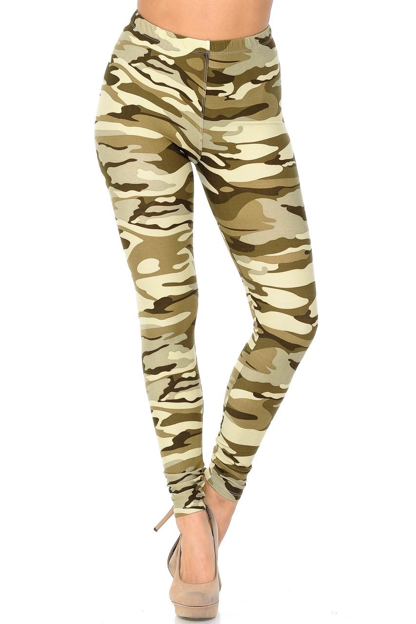 Full length Buttery Soft Light Olive Camouflage Leggings
