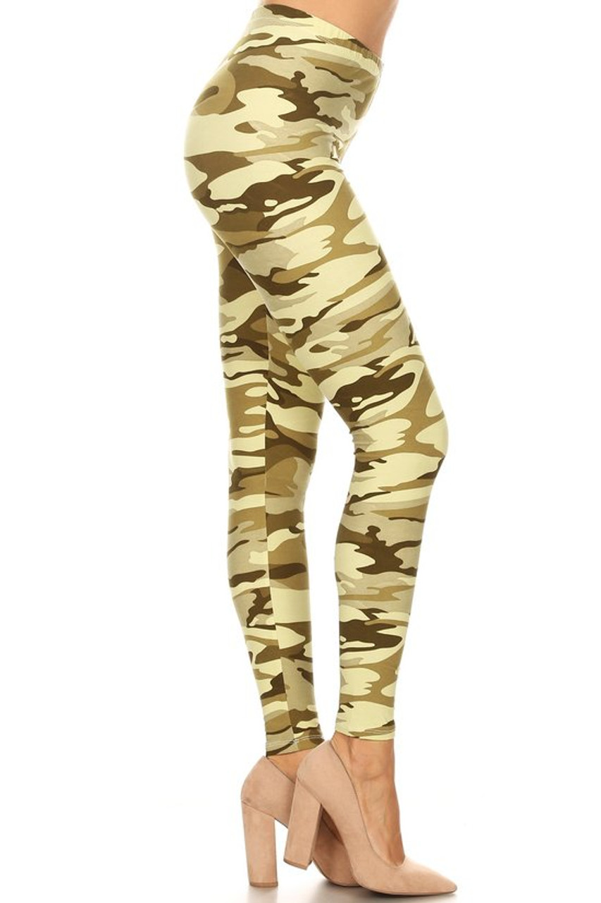 Right side view of our full length Buttery Soft Light Olive Camouflage Plus Size Leggings - 3X-5X