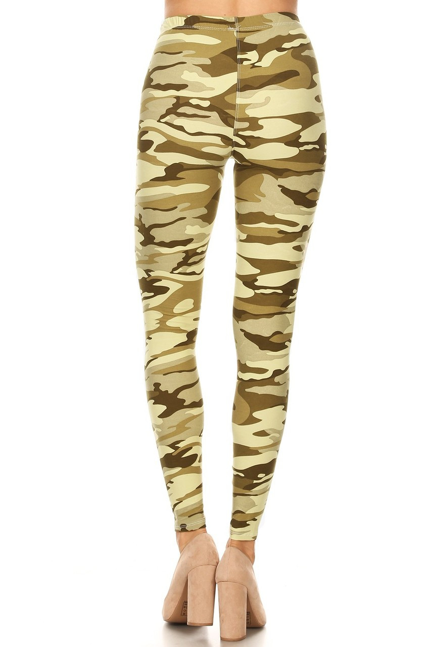 Rear view of Buttery Soft Light Olive Camouflage Plus Size Leggings - 3X-5X