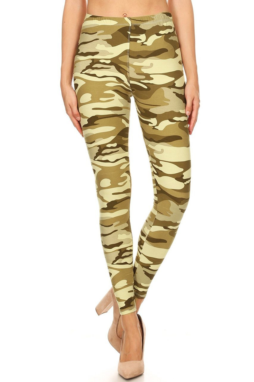 Front view of Buttery Soft Light Olive Camouflage Extra Plus Size Leggings featuring a comfort elastic waist.