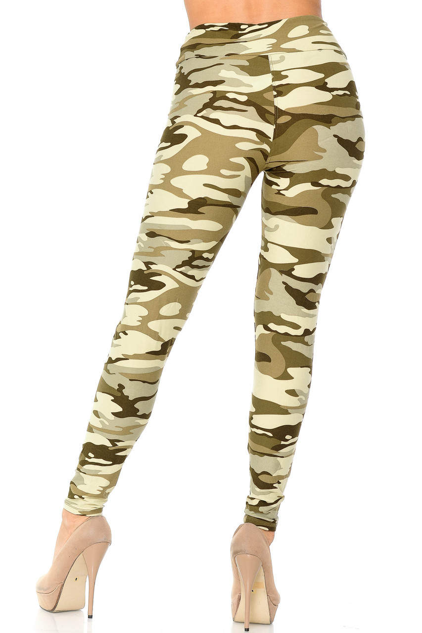 Rear view of Buttery Soft Light Olive Camouflage High Waisted Leggings