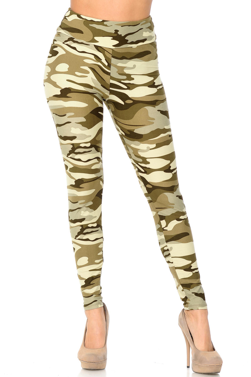 Front view of Buttery Soft Light Olive Camouflage High Waisted Leggings.