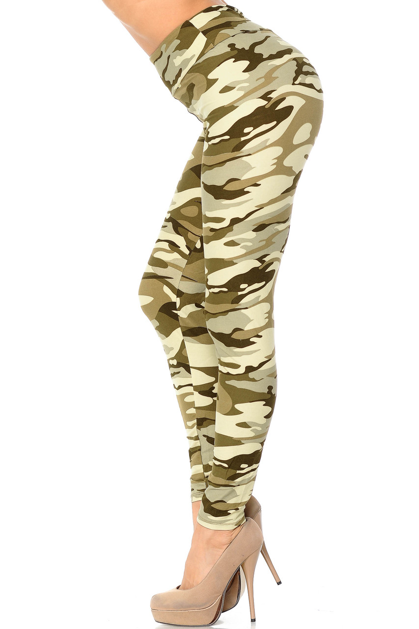 Left side view of Buttery Soft Light Olive Camouflage High Waisted Leggings.