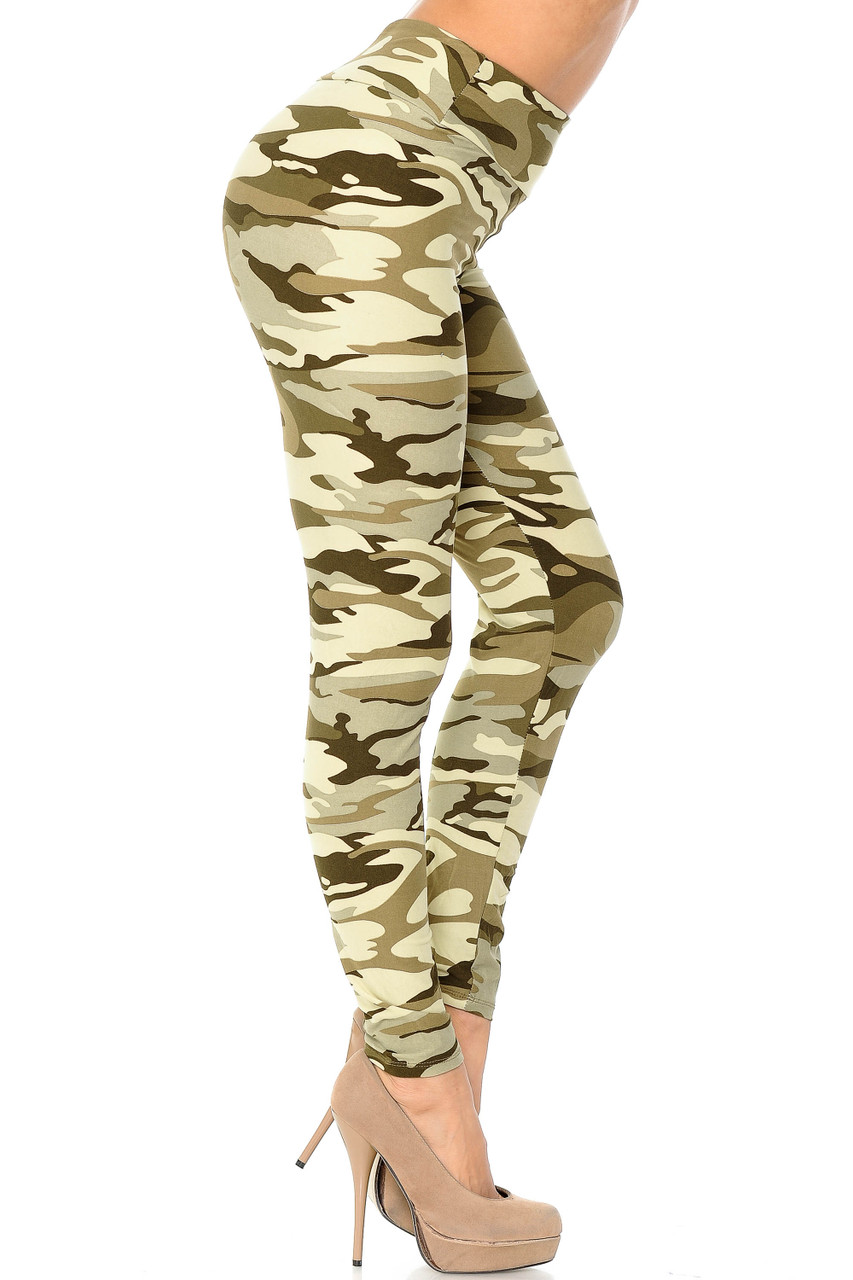 Right side view of Buttery Soft Light Olive Camouflage High Waisted Leggings.
