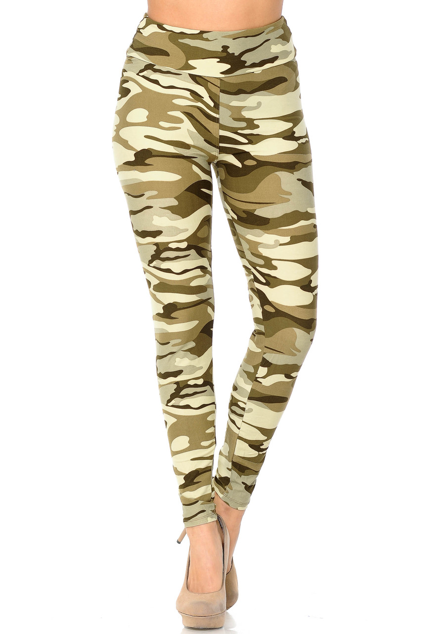 Buttery Soft Light Olive Camouflage High Waisted Leggings with a comfort fabric waist.