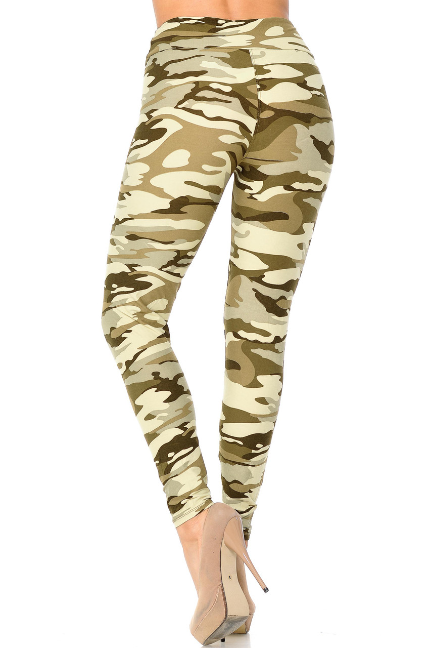 Full length Buttery Soft Light Olive Camouflage High Waisted Leggings