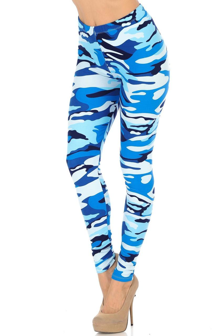 Full length Buttery Soft Blue Camouflage Leggings.
