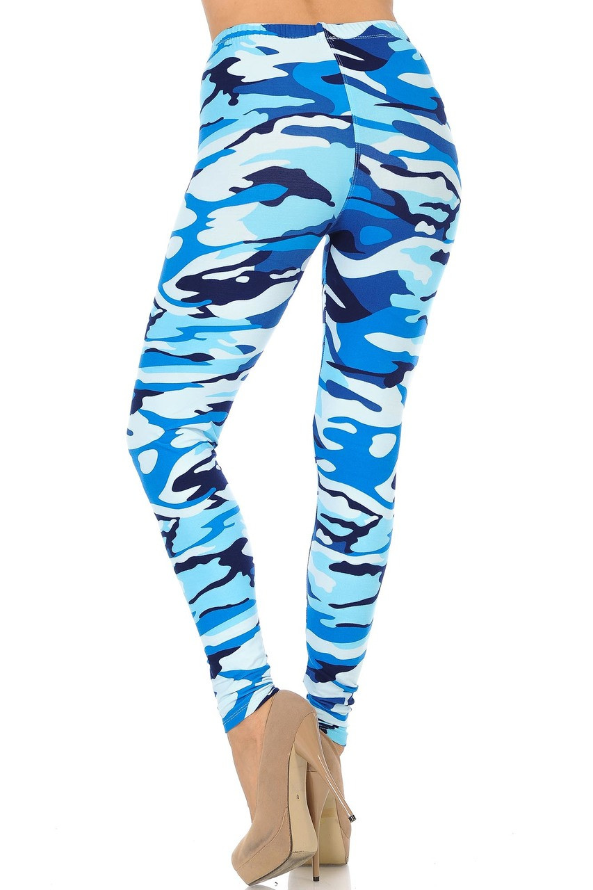 Rear view of Buttery Soft Blue Camouflage Leggings