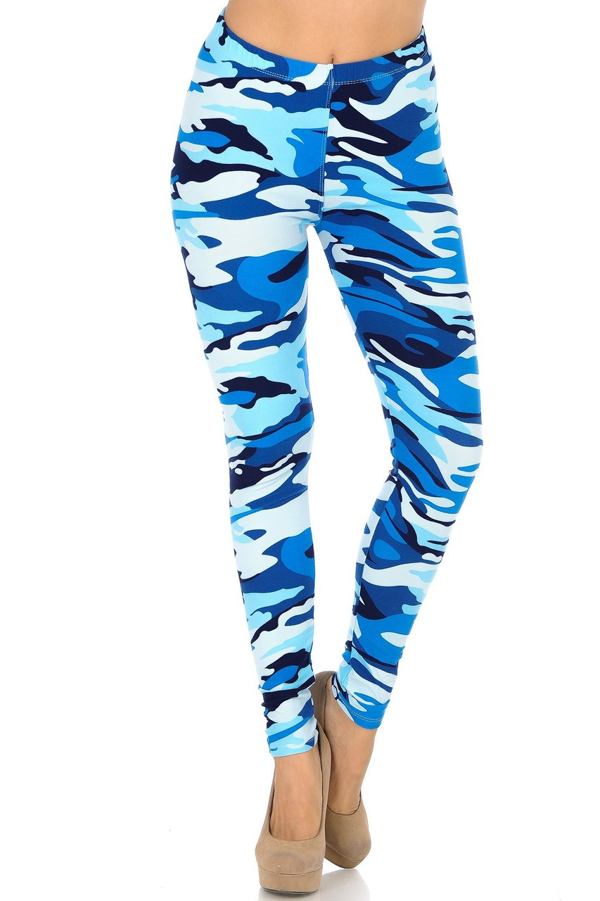 Front view of Buttery Soft Blue Camouflage Leggings
