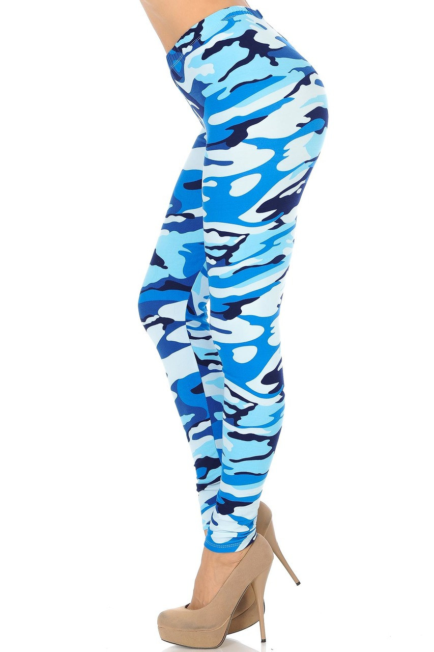 Left side view of Buttery Soft Blue Camouflage Leggings