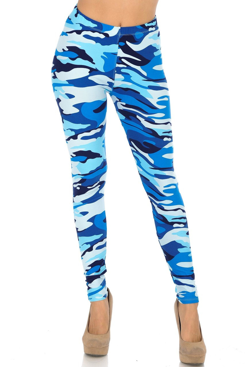 Monochromatic colorful Buttery Soft Blue Camouflage Leggings