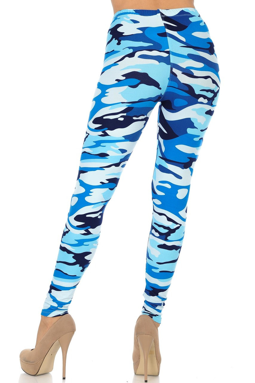 Buttery Soft Blue Camouflage Leggings featuring an elastic waistband.