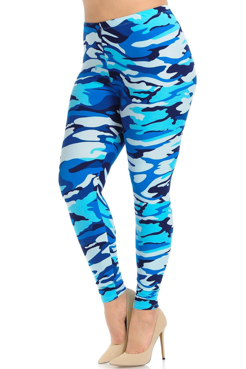 Full length Buttery Soft Blue Camouflage Extra Plus Size Leggings.