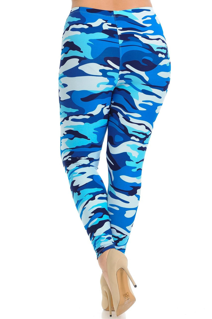 Rear view of Buttery Soft Blue Camouflage Extra Plus Size Leggings.