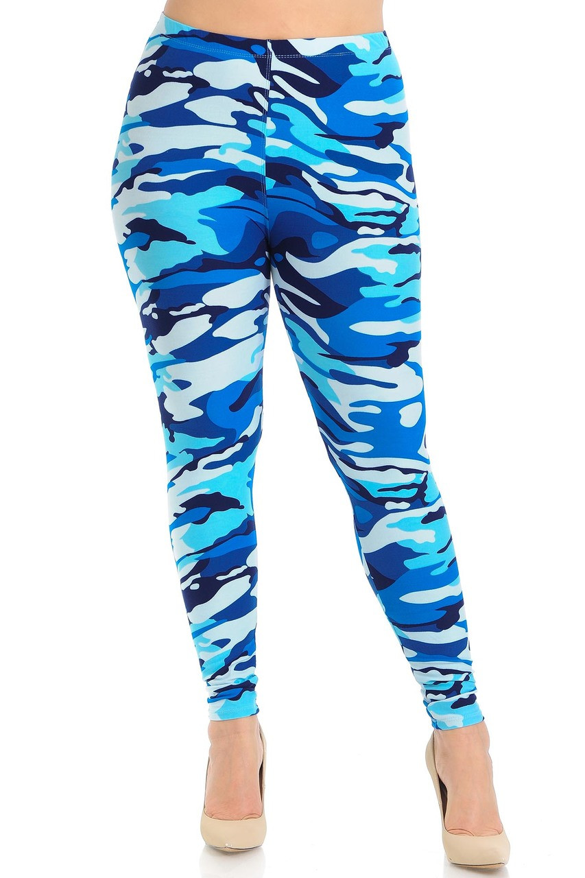 Front view of Buttery Soft Blue Camouflage Extra Plus Size Leggings.
