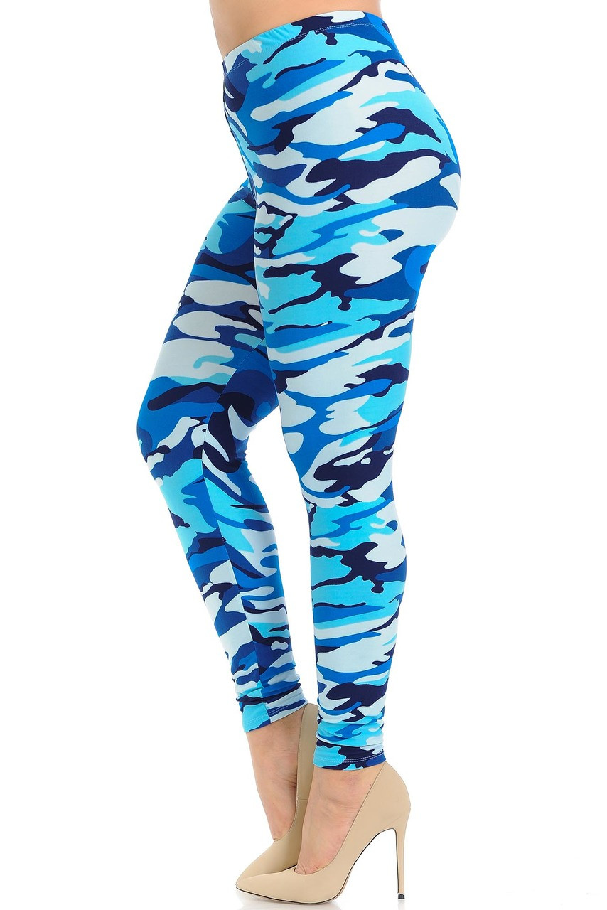 Left side view of Buttery Soft Blue Camouflage Extra Plus Size Leggings.