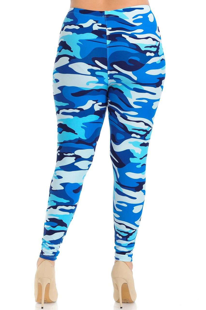 Buttery Soft Blue Camouflage Extra Plus Size Leggings with a colorful monochromatic look.