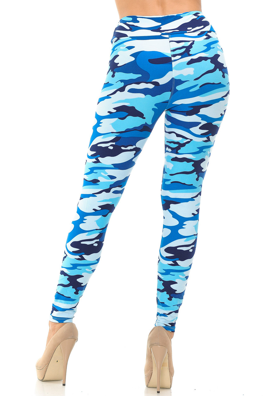 Rear view of Buttery Soft Blue Camouflage High Waisted Leggings.