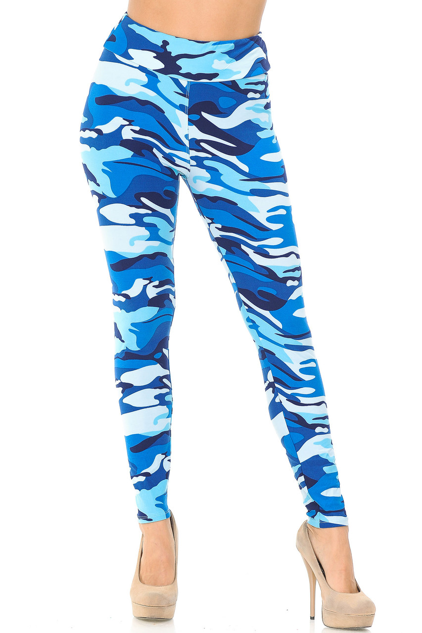 Front view of Buttery Soft Blue Camouflage High Waisted Leggings.