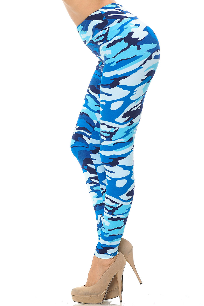 Left side view of Buttery Soft Blue Camouflage High Waisted Leggings.