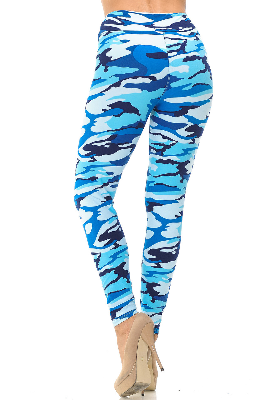 Colorful Buttery Soft Blue Camouflage High Waisted Leggings.