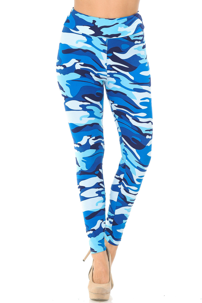 Buttery Soft Blue Camouflage High Waisted Leggings with comfort fabric waist.