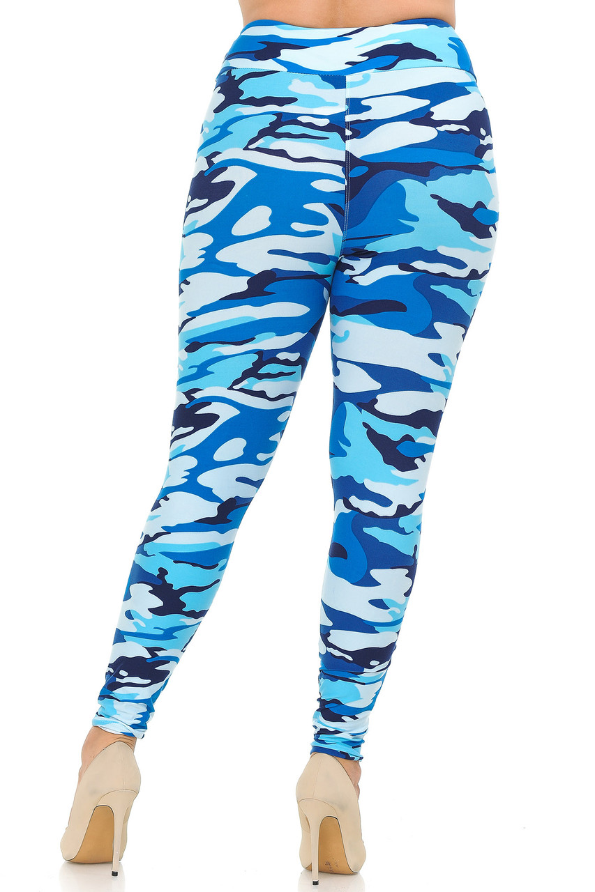 Rear view of Buttery Soft Blue Camouflage High Waisted Plus Size Leggings.