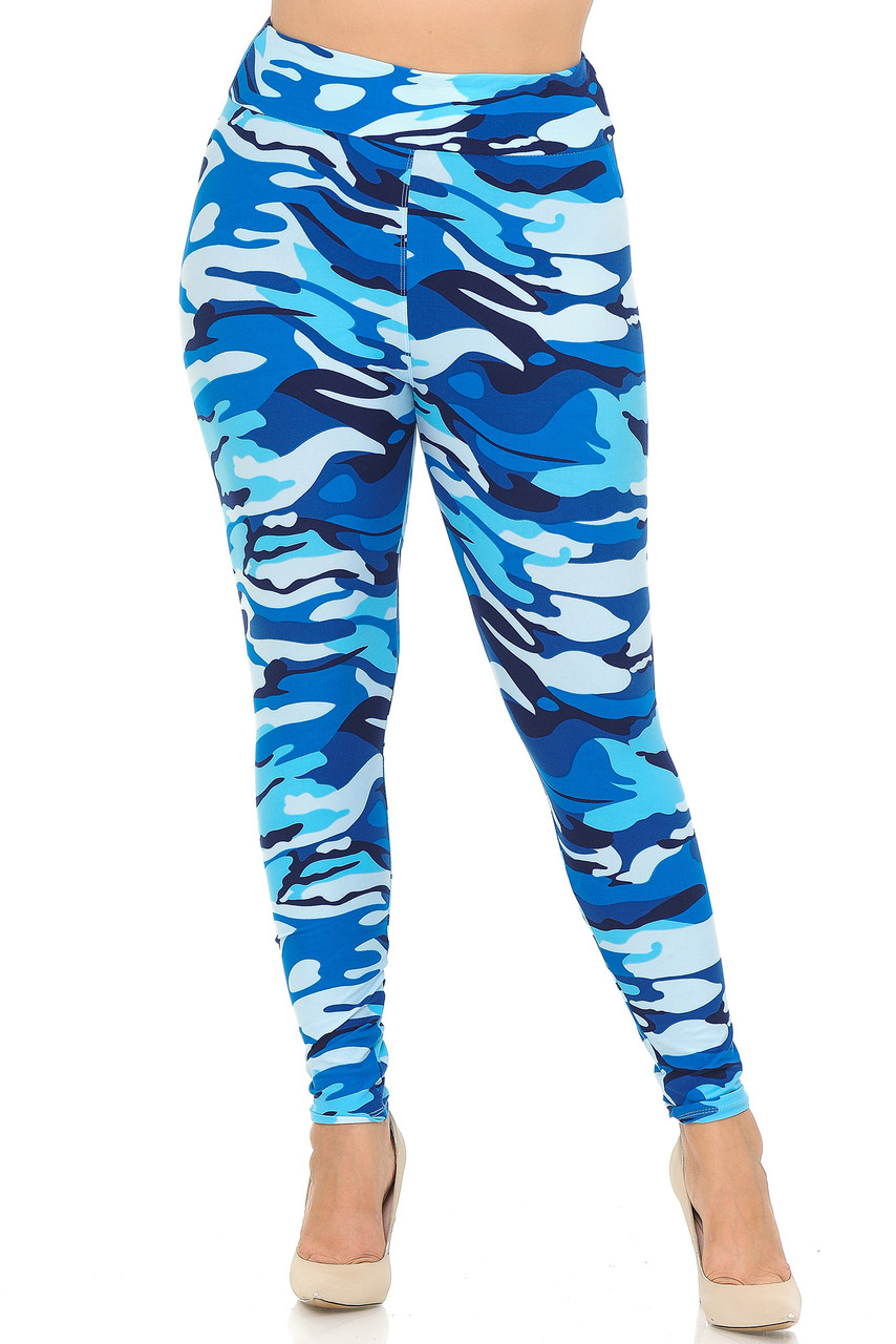 Front view of Buttery Soft Blue Camouflage High Waisted Plus Size Leggings.