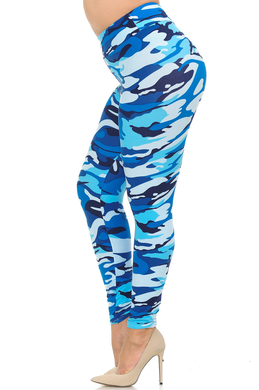 Left side view of Buttery Soft Blue Camouflage High Waisted Plus Size Leggings.