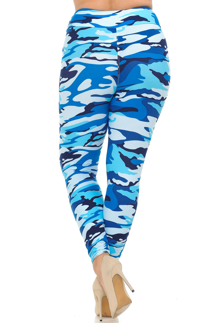 Buttery Soft Blue Camouflage High Waisted Plus Size Leggings with comfort fabric waist.