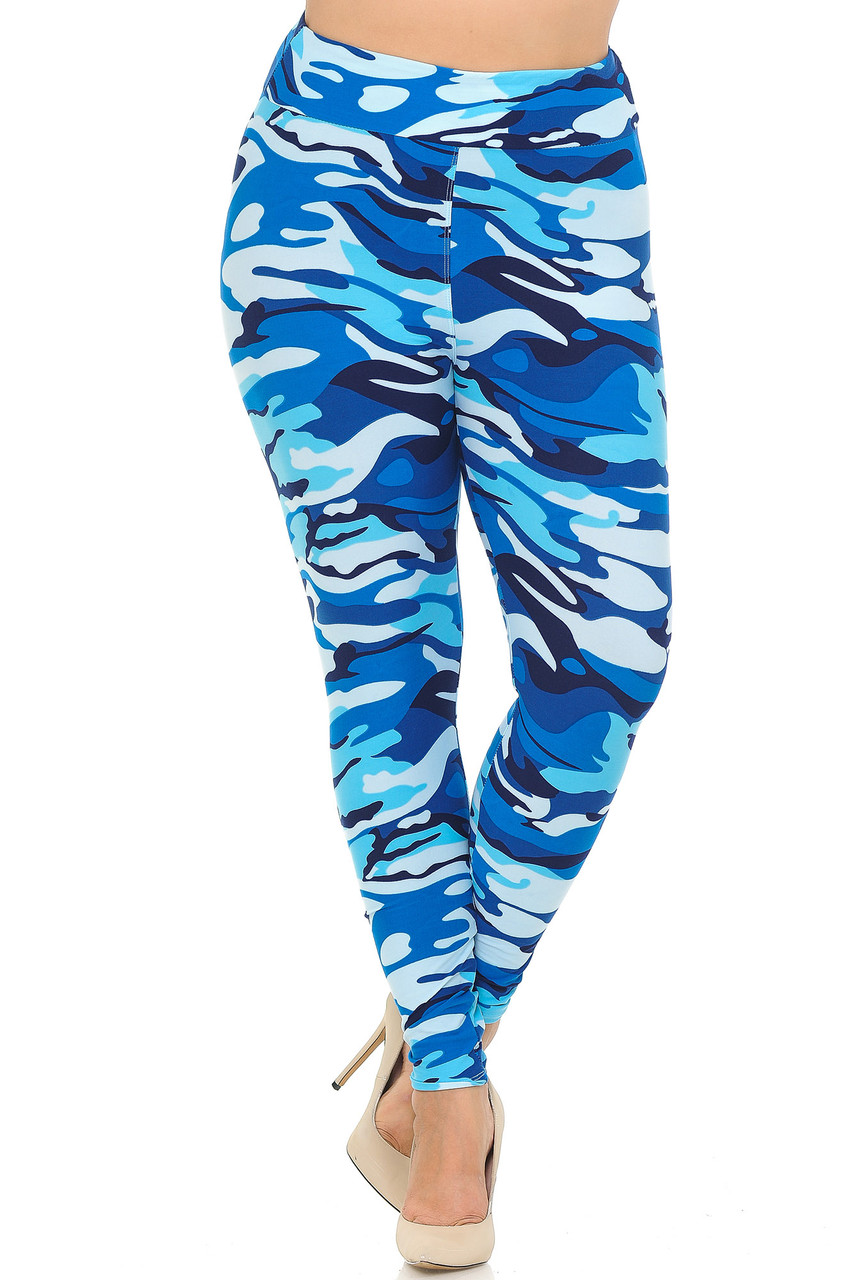 Colorful Buttery Soft Blue Camouflage High Waisted Plus Size Leggings.
