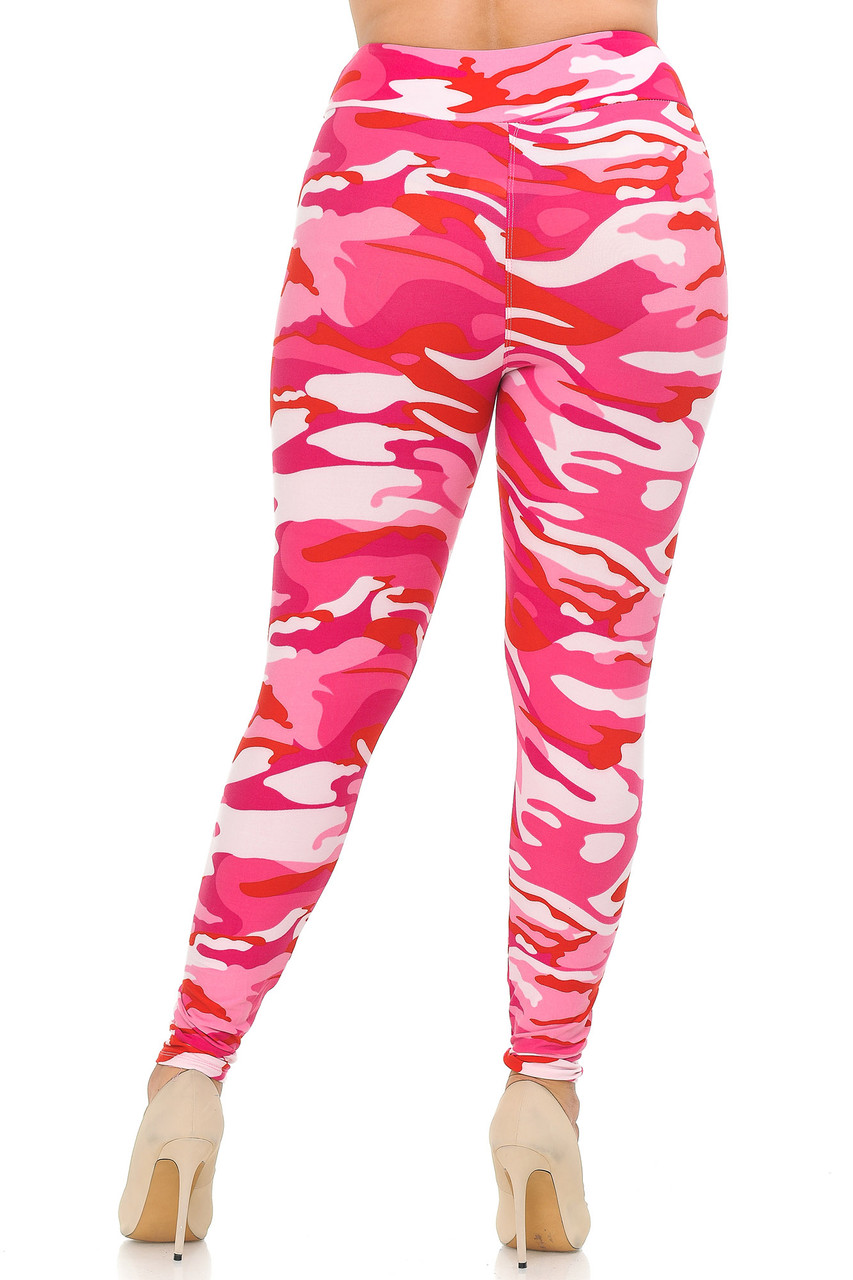 Rear view of Buttery Soft Pink Camouflage High Waisted Plus Size Leggings.