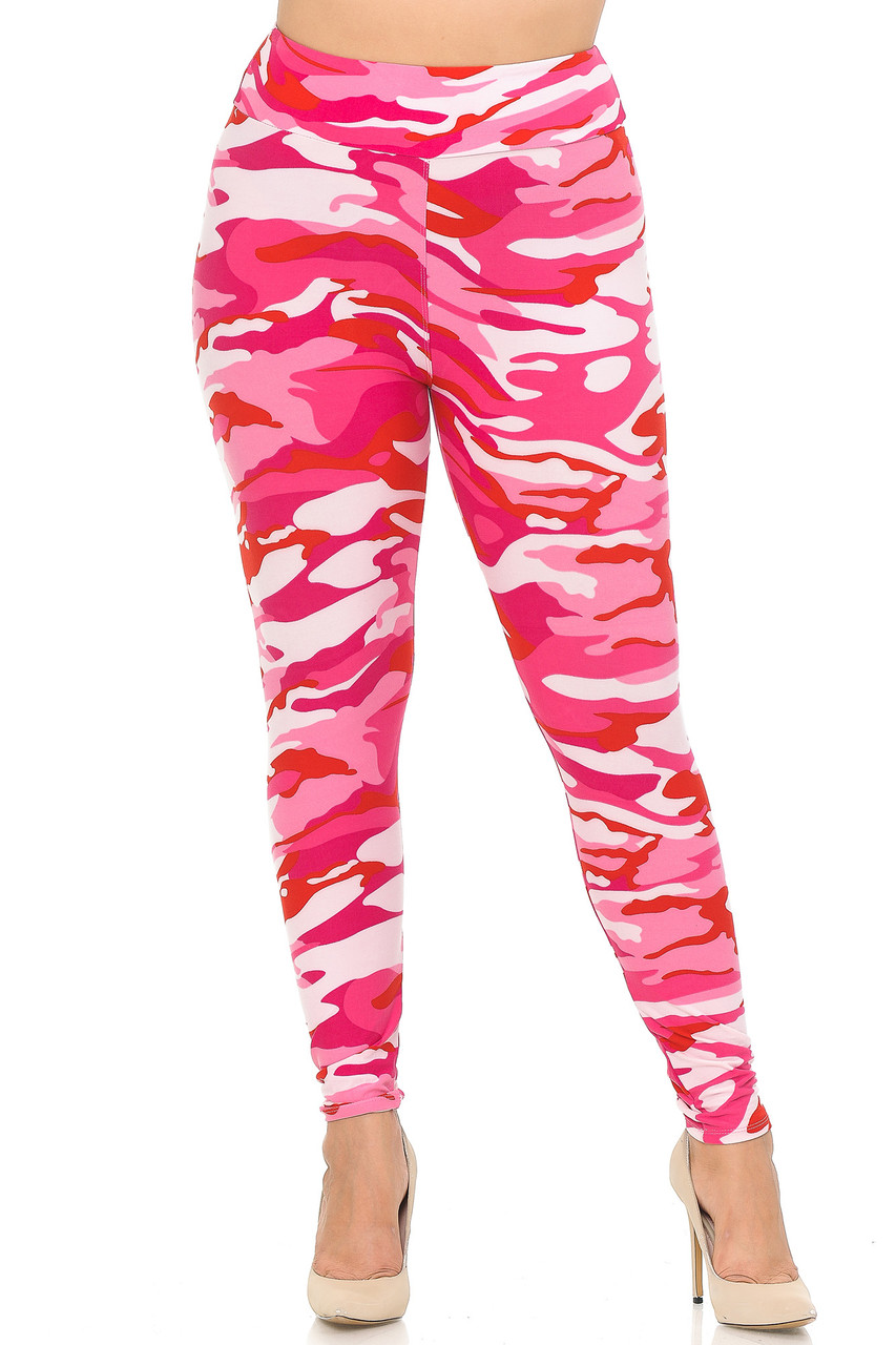 Front view of Buttery Soft Pink Camouflage High Waisted Plus Size Leggings.