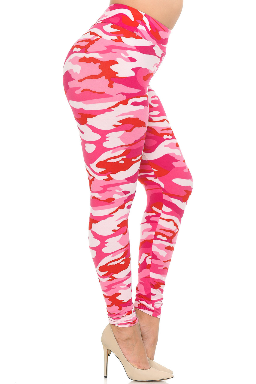 Right side view of Buttery Soft Pink Camouflage High Waisted Plus Size Leggings.