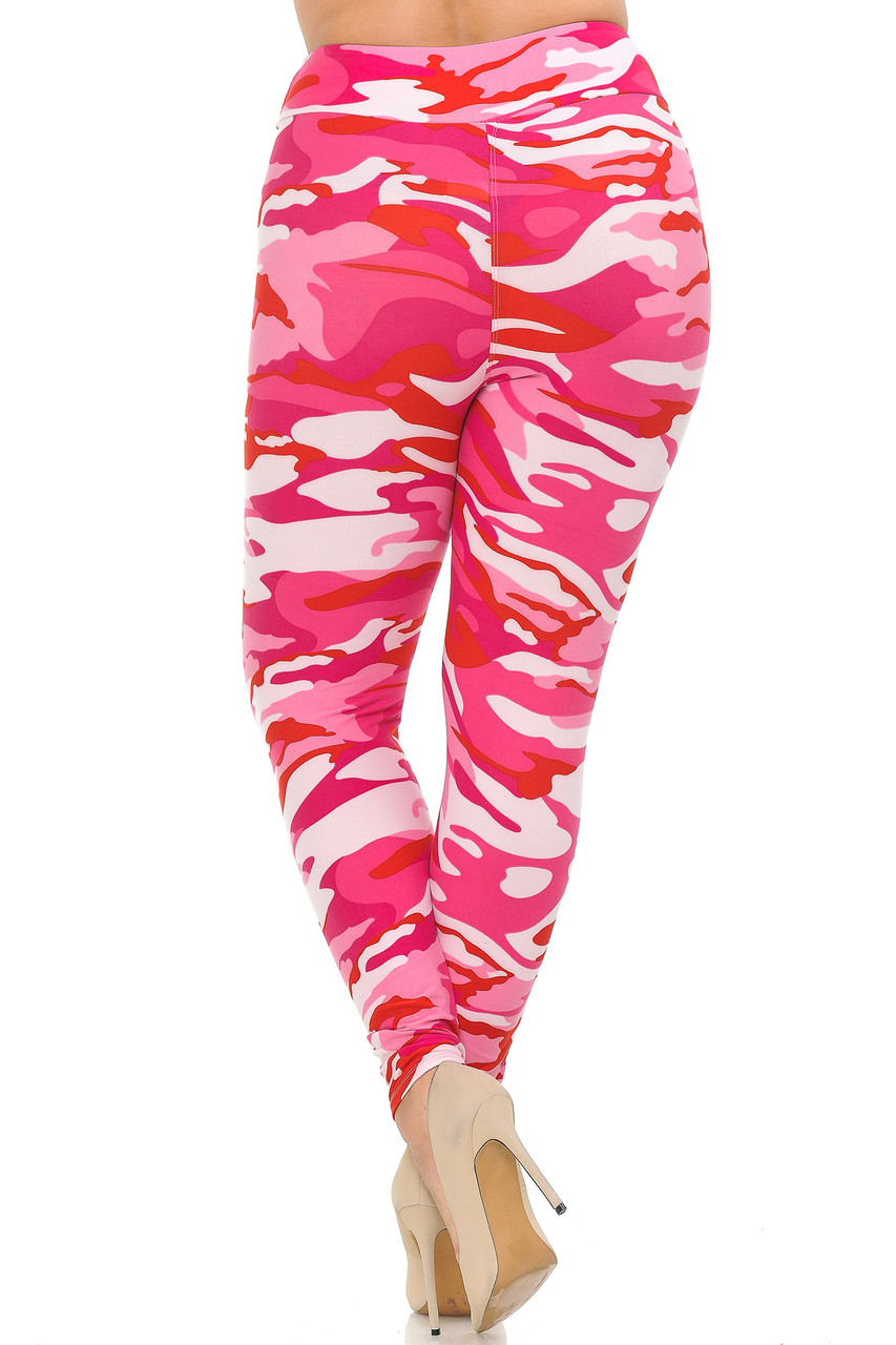Buttery Soft Pink Camouflage High Waisted Plus Size Leggings with a comfort fabric waist.